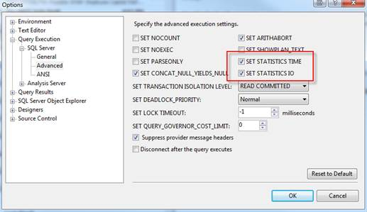 SQL Freelancer SQL Server SET STATISTICS TIME SET STATISTICS IO