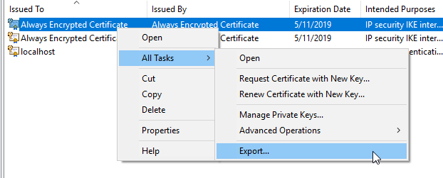 Create Always Encrypted Certificate | SQL Freelancer Blog